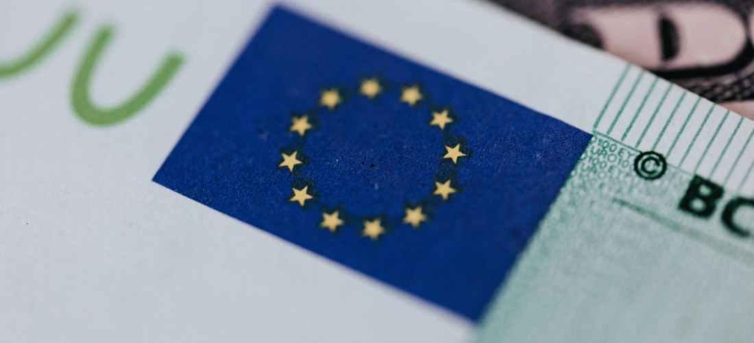 symbol of european union on banknote