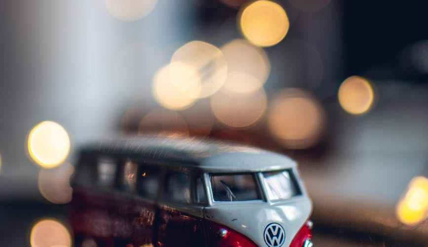 photo of red and white toy car