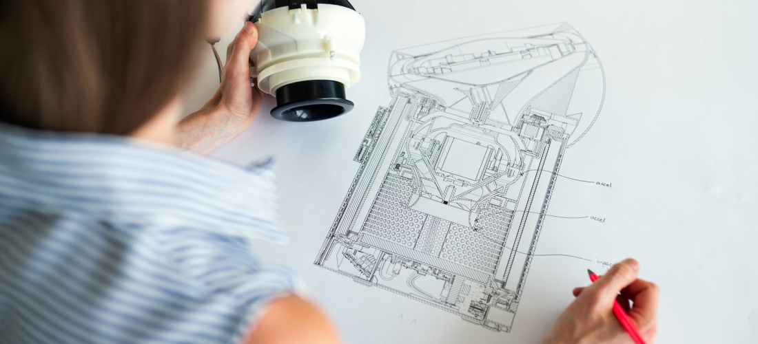 photo of female engineer designing an equipment
